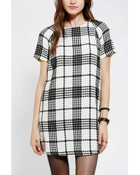 Urban Outfitters | Black Coincidence Chance Textured Plaid Shift Dress | Lyst