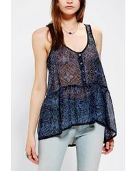 Urban Outfitters | Blue Ecote Chiffon Babydoll Tank Top | Lyst