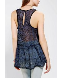 Urban Outfitters - Blue Ecote Chiffon Babydoll Tank Top - Lyst