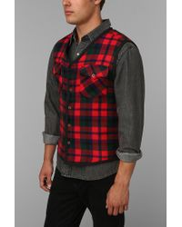 Urban Outfitters | Red Urban Renewal Remade Plaid Vest for Men | Lyst
