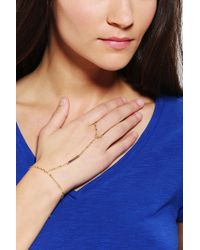 Urban Outfitters | Metallic Delicate Ring-to-wrist Bracelet | Lyst