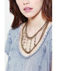 Urban Outfitters - Metallic Studded Layeredchain Necklace - Lyst
