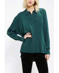 Urban Outfitters - Green Staring At Stars Gathered back Button down Tunic - Lyst