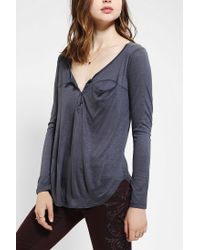 Urban Outfitters - Gray Tela Slouchy Henley Top - Lyst