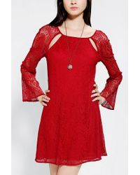 Urban Outfitters | Red Lucca Couture Lace Bell sleeve Dress | Lyst