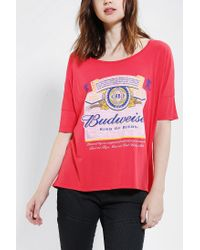 Urban Outfitters | Red Junk Food Budweiser Oversized Tee | Lyst