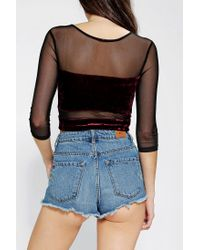 Urban Outfitters | Black Sparkle Fade Mixed Fabric Mesh Cropped Top | Lyst