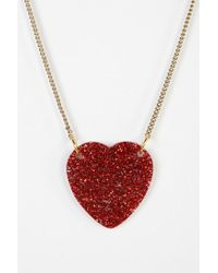Urban Outfitters | Red Glitter Heart Necklace | Lyst