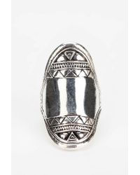 Urban Outfitters - Metallic Etched Shield Ring - Lyst