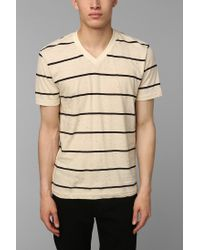 Urban Outfitters - Natural Bdg Novelty Stripe Vneck Slim Fit Tee for Men - Lyst