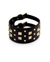 Valentino | Black Rockstud Wide Leather Bracelet | Lyst
