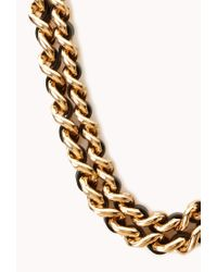 Forever 21 - Metallic Bold Woven Double Chain Choker - Lyst
