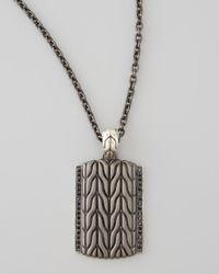 John Hardy | Metallic Black Bronze Dog Tag Chain | Lyst
