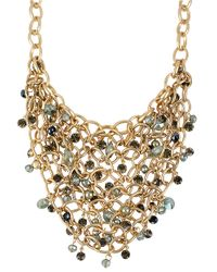 Kenneth Cole - Metallic Gold Tone Faceted Bead Mesh Frontal Necklace - Lyst