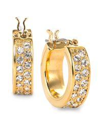 Lauren by Ralph Lauren | Metallic Goldtone Pave Crystal Small Hoop Earrings | Lyst
