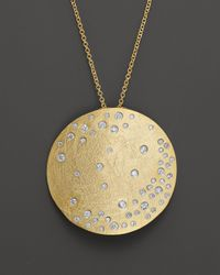 "Meira T - Metallic Diamond And 14K Yellow Gold Medallion Necklace, 16"" - Lyst"