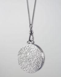 Monica Rich Kosann | Metallic Round Vine-carved Locket Necklace | Lyst
