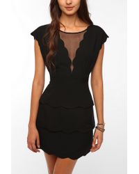 Urban Outfitters - Black Cooperative Scallop Peplum Dress - Lyst