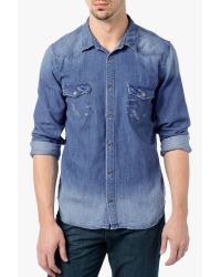574dc17a775 Lyst - 7 For All Mankind Destroyed Denim Shirt in Blue for Men