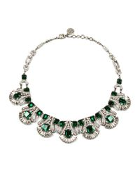 Ben-Amun | Metallic Emerald and Crystal Statement Necklace | Lyst