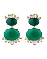 Bounkit | Metallic Cabochon Double Drop Earrings | Lyst