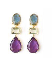 Bounkit | Purple Labradorite Geometric Earrings | Lyst