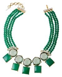 Bounkit | Double Row Green Statement Necklace | Lyst
