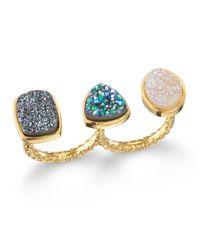 Dara Ettinger | Blue Mimi Two Finger Ring Halooceanblack | Lyst