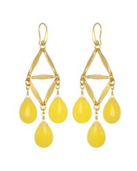 David Aubrey | Metallic Yellow Chandelier Triangle Earrings | Lyst