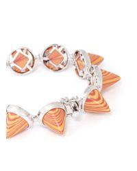 Eddie Borgo | Orange Marbled Gemstone Cone Bracelet | Lyst