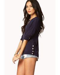 Forever 21 - Blue Essential Buttoned Vent Sweater - Lyst