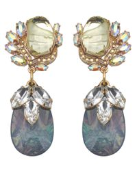 Mawi   Yellow Flower Gemstone Earrings with Teardrop   Lyst