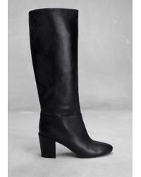 & Other Stories - Black Leather Knee Boots - Lyst