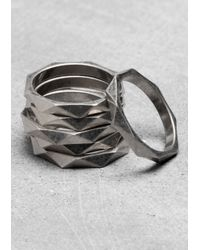 & Other Stories - Metallic Bezeled Multi-Ring - Lyst