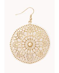 Forever 21 | Metallic Cutout Floral Circle Earrings | Lyst