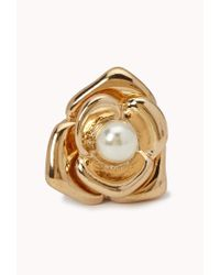 Forever 21 - Metallic Faux Pearl Flower Studs - Lyst