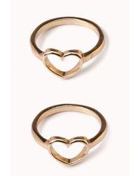 Forever 21 - Metallic Heart Charm Midi Ring Set - Lyst