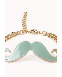 Forever 21 - Green Mustache Charm Bracelet - Lyst