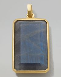 Ippolita - Blue 18k Gold Large Rectangular Pendant in Labradorite for Men - Lyst