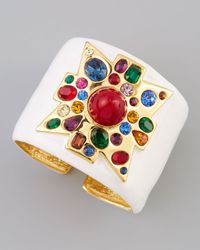 Kenneth Jay Lane - Wide Enamelfill Golden Cuff Whitered - Lyst