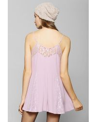 Urban Outfitters | Purple Pins and Needles Lace Inset Slip Romper | Lyst