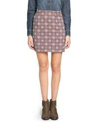 Mango - Purple Jacquard Mini Skirt - Lyst