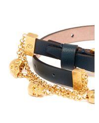 Alexander McQueen - Blue Double Wrap Skull Chain Bracelet - Lyst