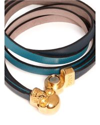 Alexander McQueen - Blue Leather Wrap Bracelet - Lyst