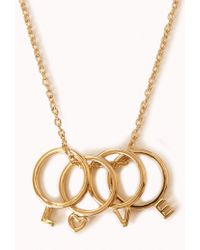 Forever 21 - Metallic Love Ring Charm Necklace - Lyst