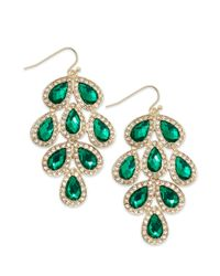 INC International Concepts | Goldtone Green Stone Leaf Chandelier Earrings | Lyst