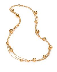 Roberto Coin - Metallic 18k Gold Sphere Triplerow Station Necklace - Lyst