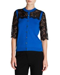Ted Baker - Blue Gwuna Lace Detail Cardigan - Lyst