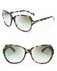 Tory Burch - Green Square Logo Bar Sunglasses - Lyst