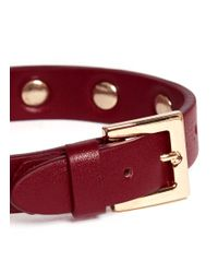Valentino - Red Rockstud Leather Skinny Bracelet (burgundy) - Lyst